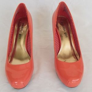 MADDEN GIRL 7.5 Getta patent leather coral pumps